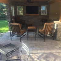 1815 Addition Under Deck TV Room and Ping Pong Table Paver Patio