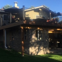 1812 Deck Iron Railing Add On Below with Stone Facing and Window