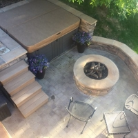 1808 View From Above Firepit Seat Wall Hot Tub Area Paver Patio