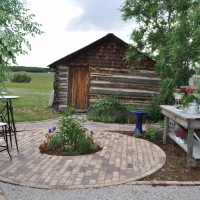 1705 Brick Patio and Brick Lined Gravel Path with Flagstone Steppers