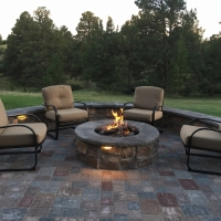 1713 Fire Pit Pavers Seat Wall