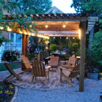 1716 Lighted Seating Area Pergola Brick Patio