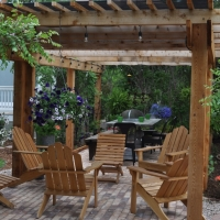 1726 Seating Area Pergola Brick Patio Gravel Walkway