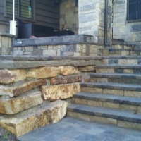 1609J - Stone Stairs Paver Patio Firepit