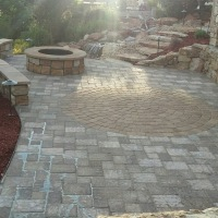 1508E - Paver Patio Circle Pack Firepit Seat Wall Siloam Stone Steps