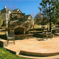 1608A - Flagstone Patio Stone Seat Wall Stone Fireplace