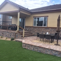 1607B - Multi Level Paver Patio Stone Veneer on Wall Turf Lawn