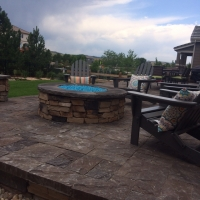 1607C - Stone Firepit Blue Glass Paver Patio with Furniture