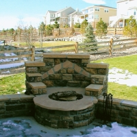 1508V - Stone Firepit With Seat Wall