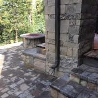1609K - Stone Steps with Lights Paver Patio Firepit