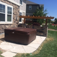 1508G - Flagstone Patio With Arbor Stone Seat Wall With Back