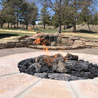 2003 Firepit with Water Feature in Background