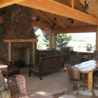 1508K - Log Pavilion Stone Fireplace Flagstone Patio Outdoor Kitchen Living Space
