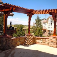 1508F - Pergola Stone Seat Wall