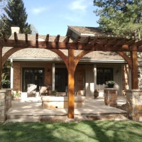 1508S - Arched Arbor Flagstone Patio Firepit Stone Column
