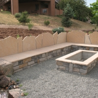 1608G - Rectangle Stone Firepit Seat Wall with Back Flagstone Back